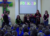 FOLK 3D Team presenting the project in school assembly - sans Oli